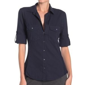 James Perse Navy Slub Contrast Ribbed Button Top